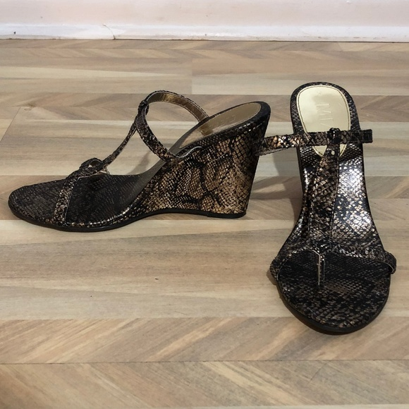 a8033ab892 Mia Shoes Shoes | Mia Black And Gold Snake Print Wedge Sandal | Poshmark